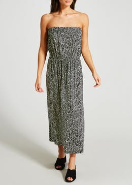 Animal Print Bandeau Maxi Dress