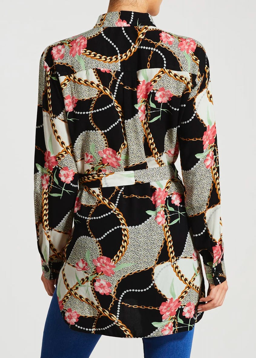Chain Print Longline Belted Shirt