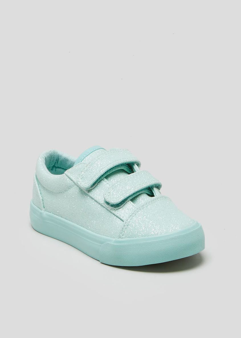 Kids Glitter Riptape Canvas Trainers (Younger 4-9)