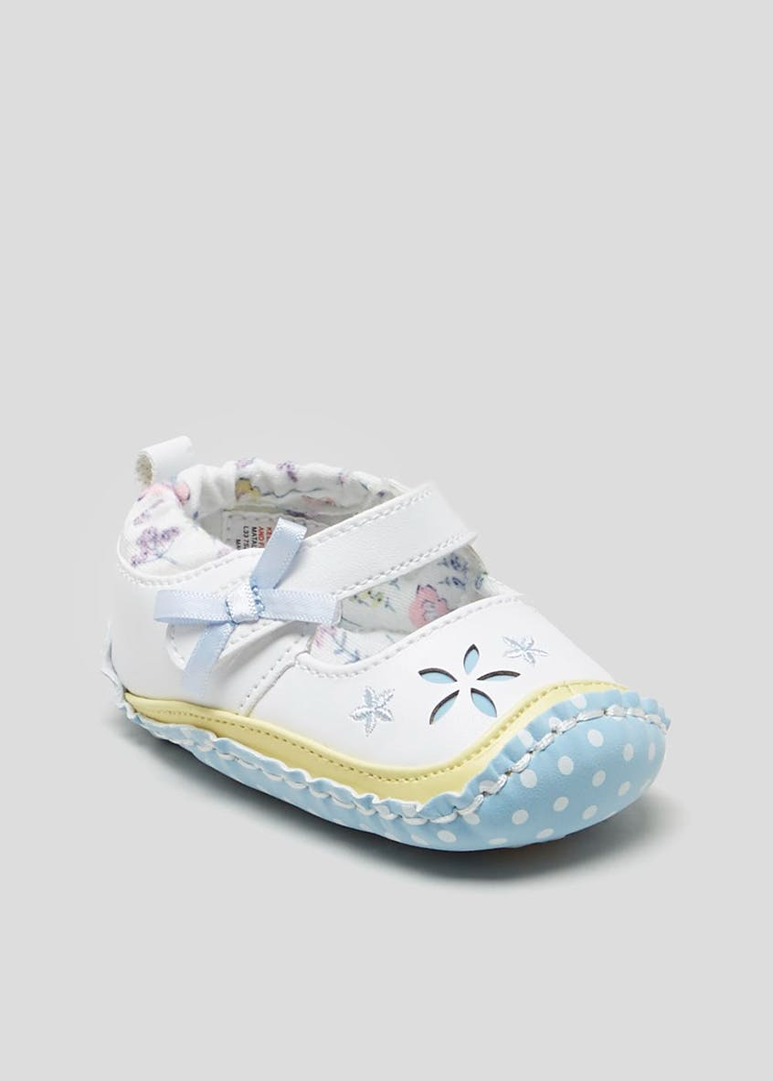 Girls Flower Soft Sole Moccasin Baby Shoes (Newborn-18mths)