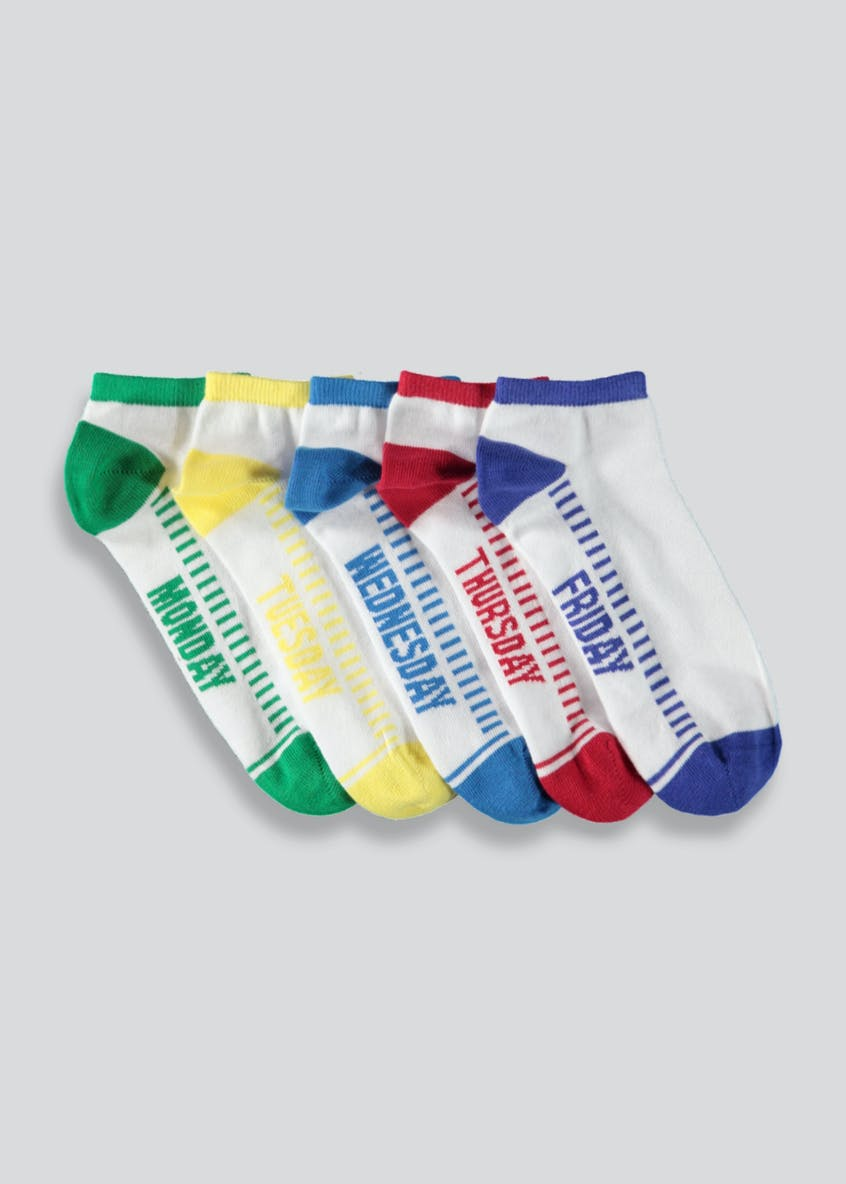 Boys 5 Pack Days of the Week Trainer Socks (Younger Kids 6-Older Kids 6.5)