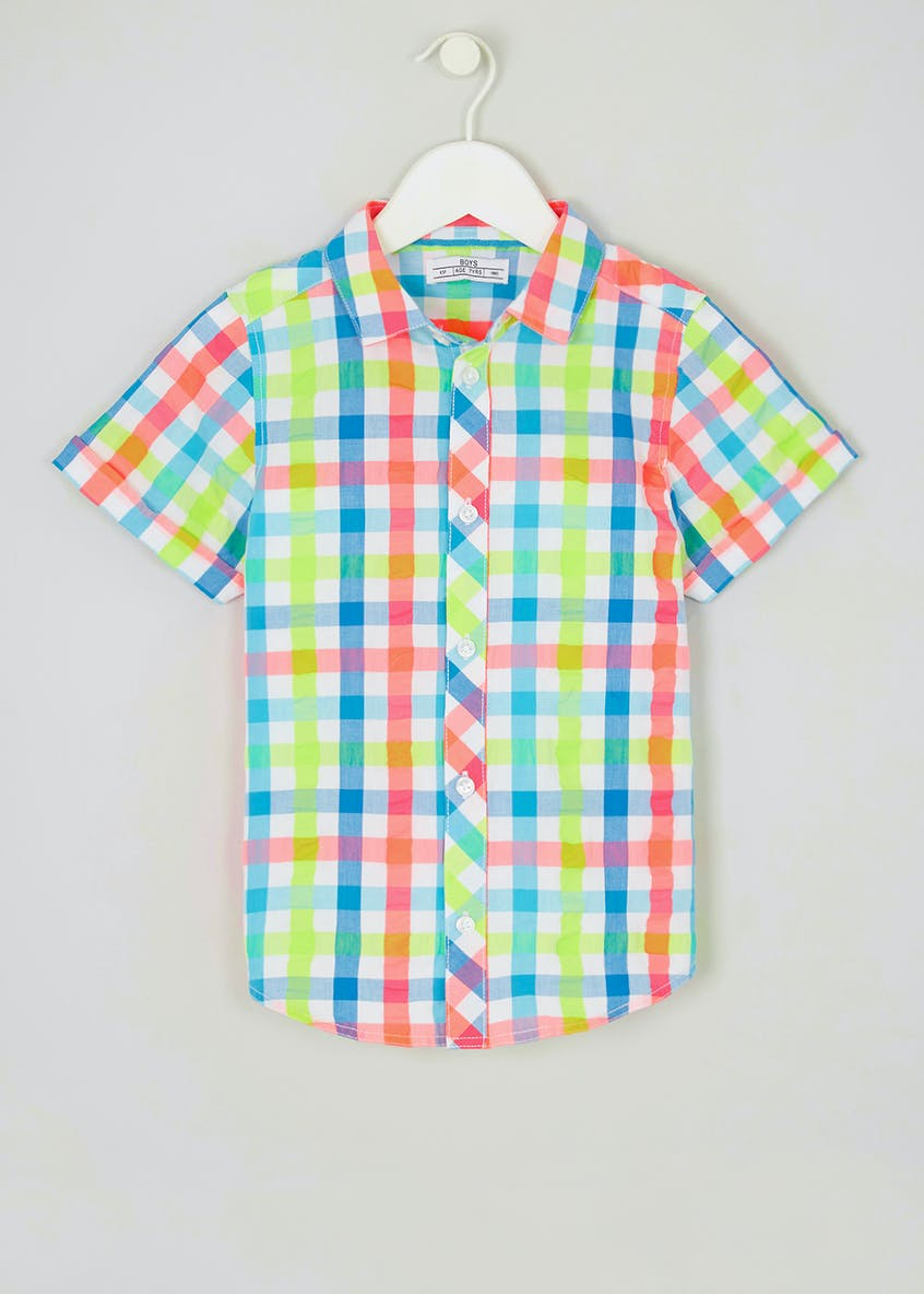 Boys Short Sleeve Neon Check Shirt (4-13yrs)