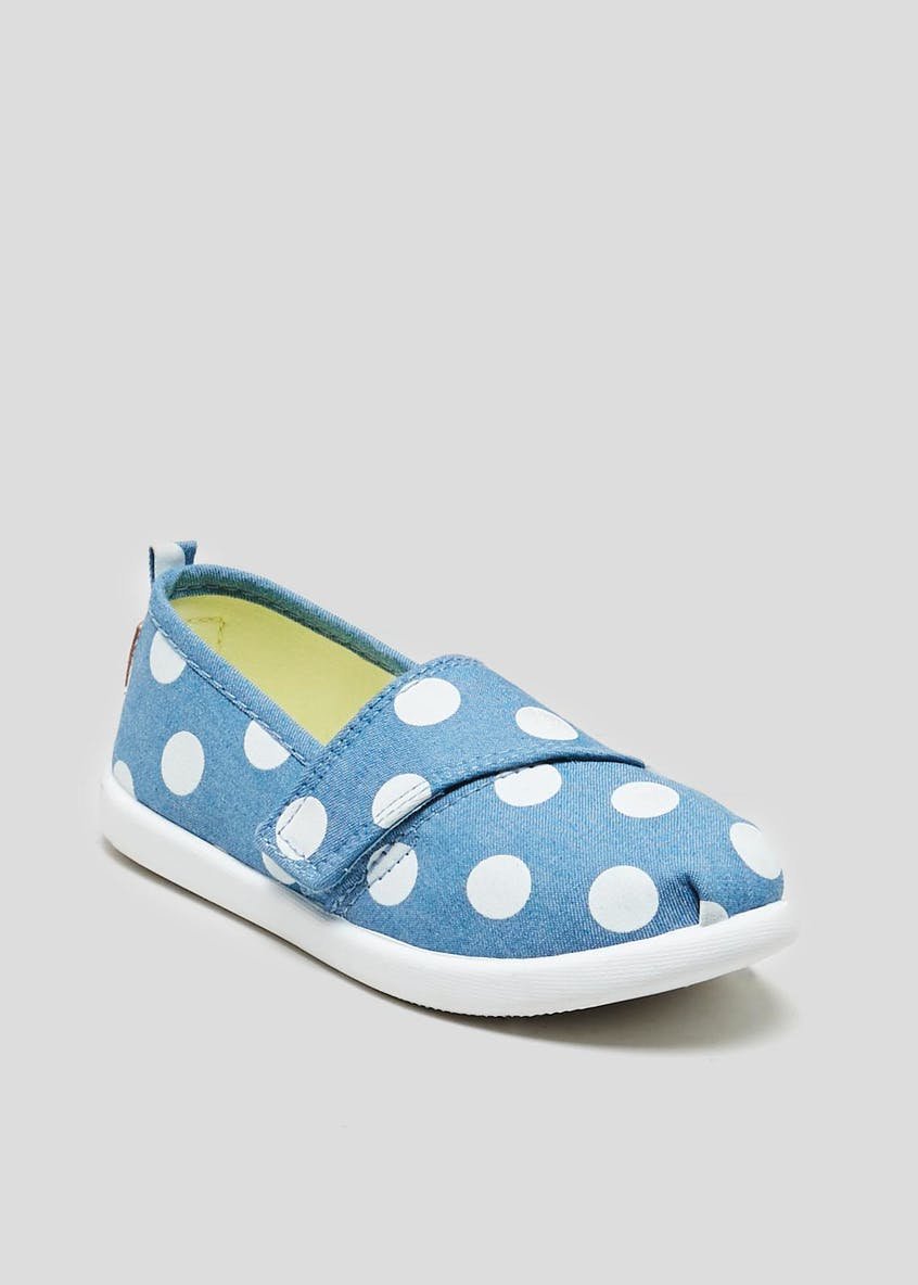 Kids Polka Dot Slip On Canvas Pumps (Younger 4-12)