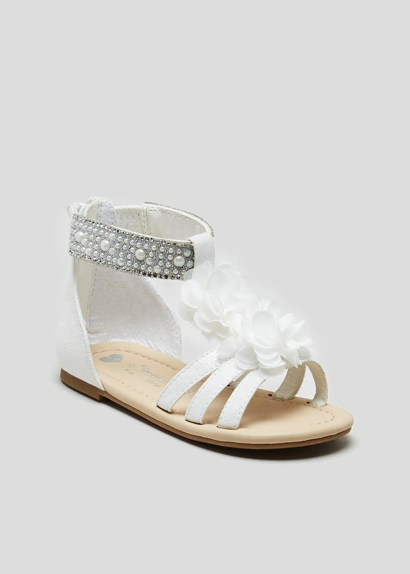 Girls Flower & Pearl Occasion Sandals (Younger 4-9)