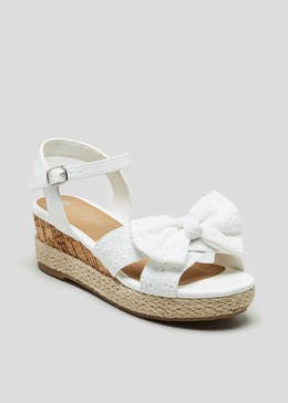 19a5dcae726 Girls Broderie Wedge Sandals (Younger 10-Older 5)