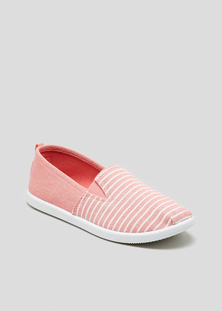 Girls Stripe Slip On Canvas Shoes (Younger 10-Older 5)
