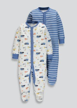 Unisex 2 Pack Trucks Baby Grows (Tiny Baby-18mths)