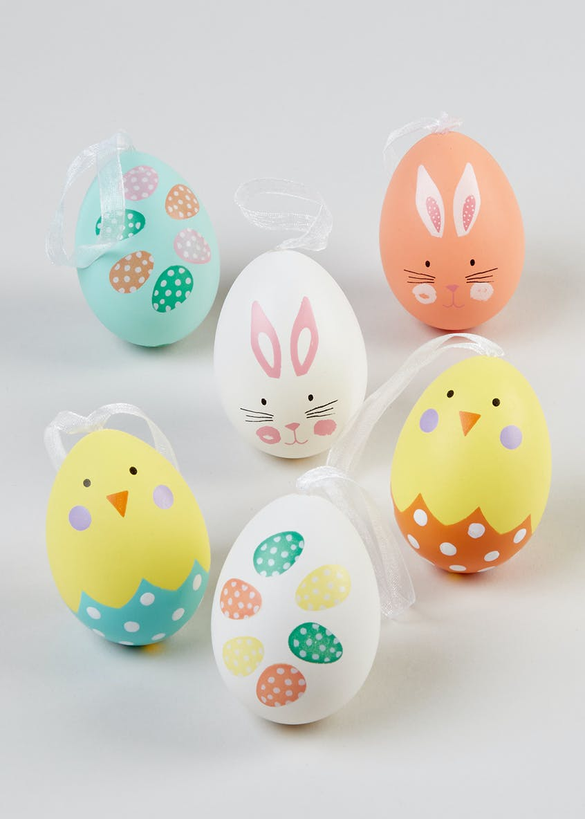 6 Hanging Easter Decorations (6cm x 4cm)