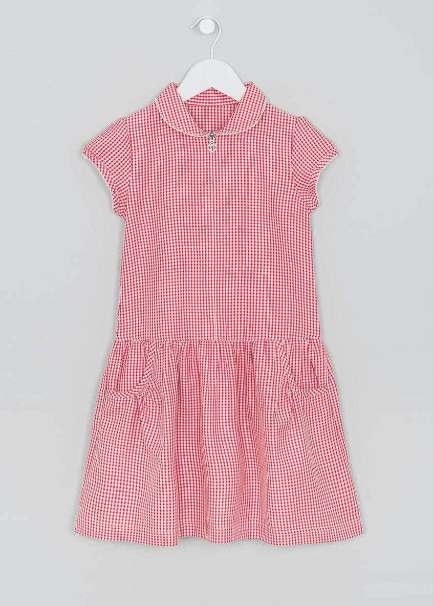Girls Drop Waist Gingham School Dress (3-13yrs)