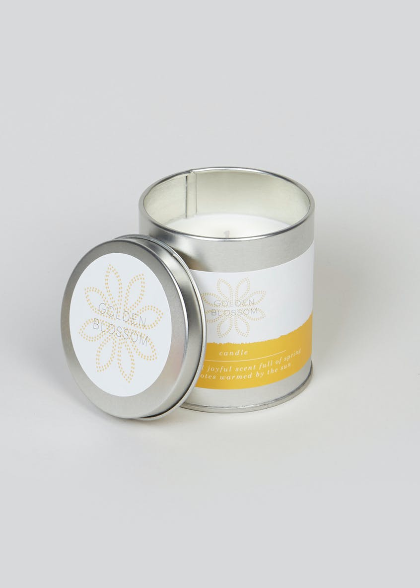 Golden Blossom Fragranced Candle Tin (8cm x 7cm x 7cm)