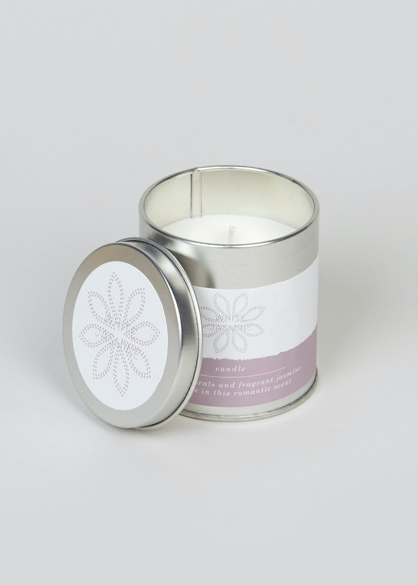 White Jasmine Fragranced Candle Tin (8cm x 7cm x 7cm)