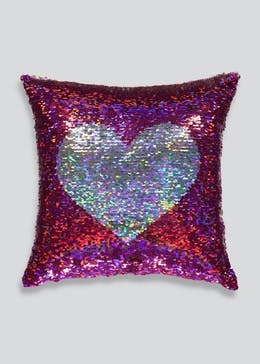 Two Tone Heart Sequin Cushion (35cm x 35cm)