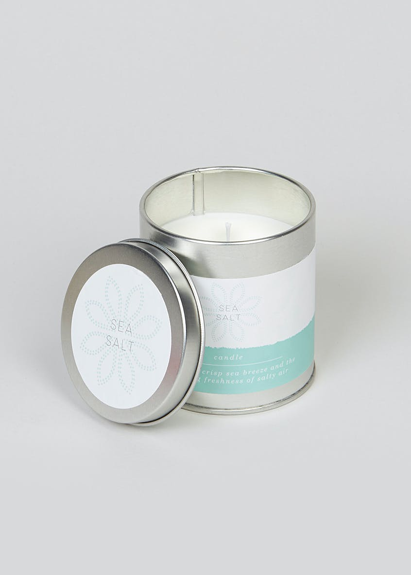Sea Salt Fragranced Candle Tin (8cm x 7cm x 7cm)