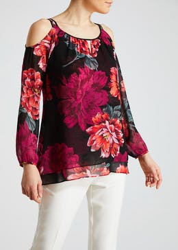 Soon Floral Cold Shoulder Top