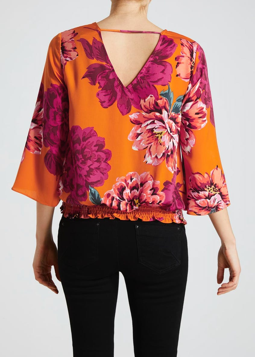 Soon Floral Shirred Hem Top