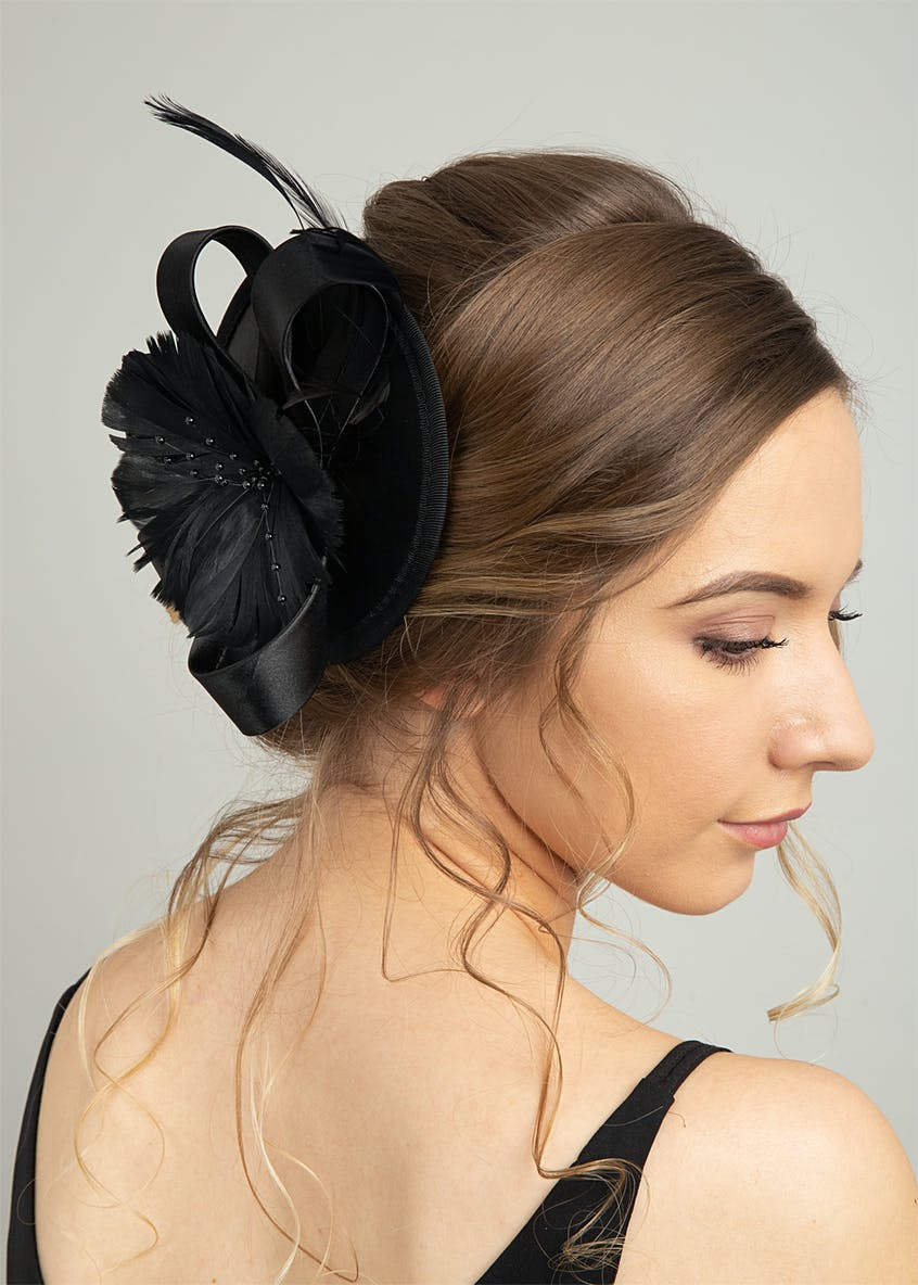 Black Satin Fascinator Clip