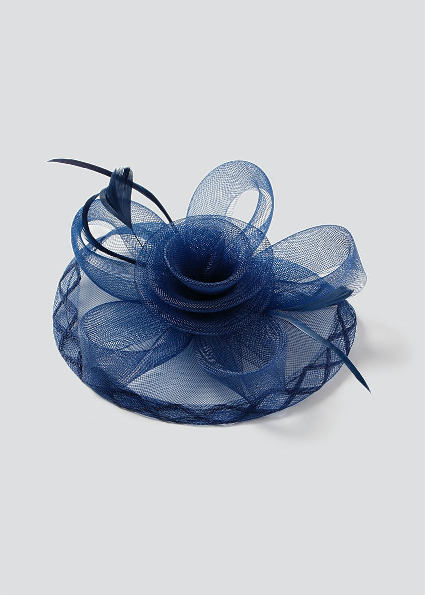 Navy Rose Fascinator Hair Clip