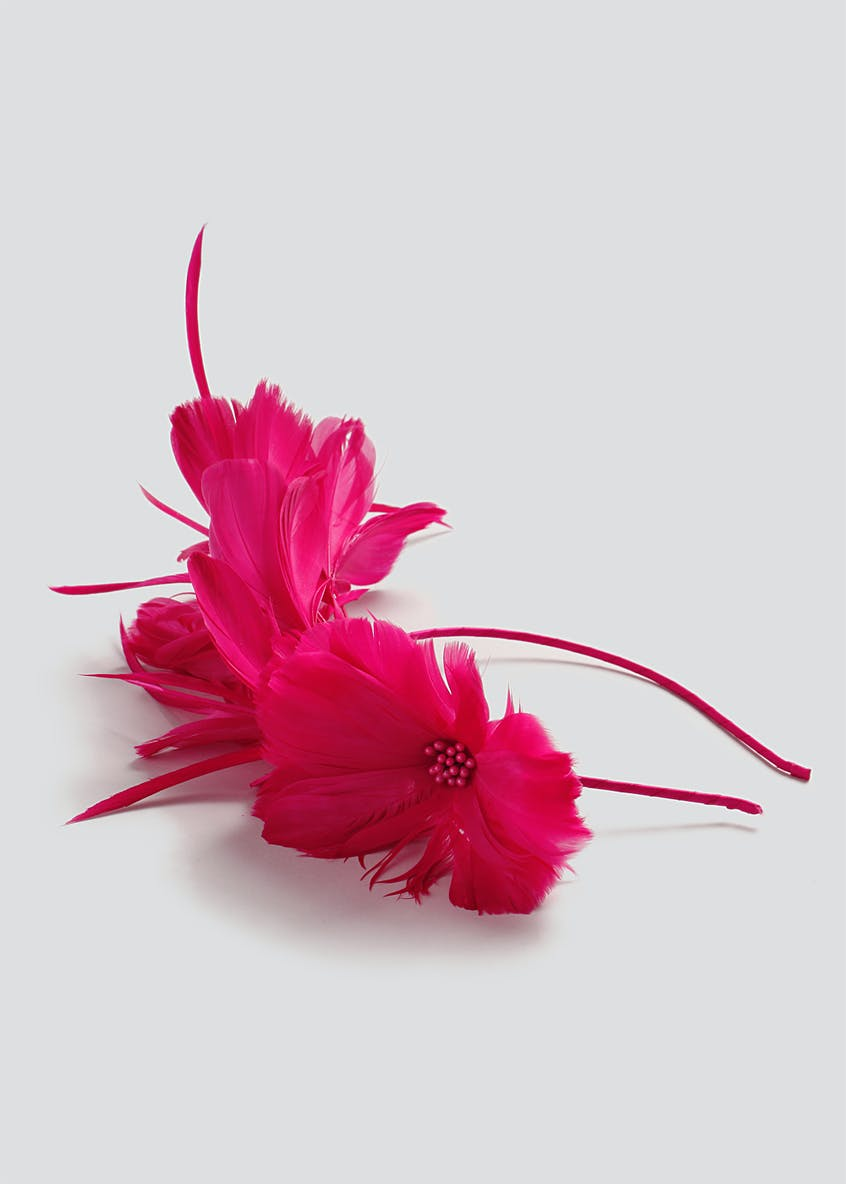 Fuchsia Feather Fascinator