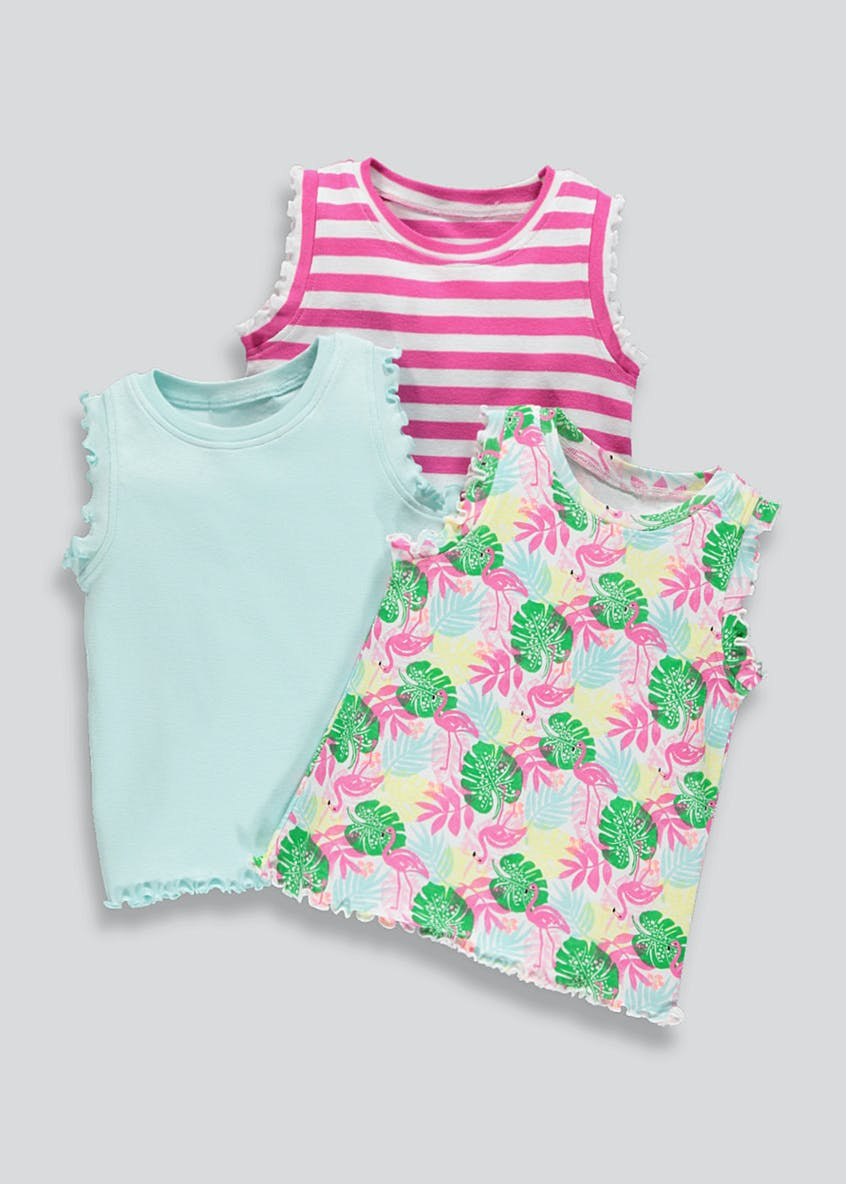 Girls 3 Pack Ruffle Vests (9mths-6yrs)