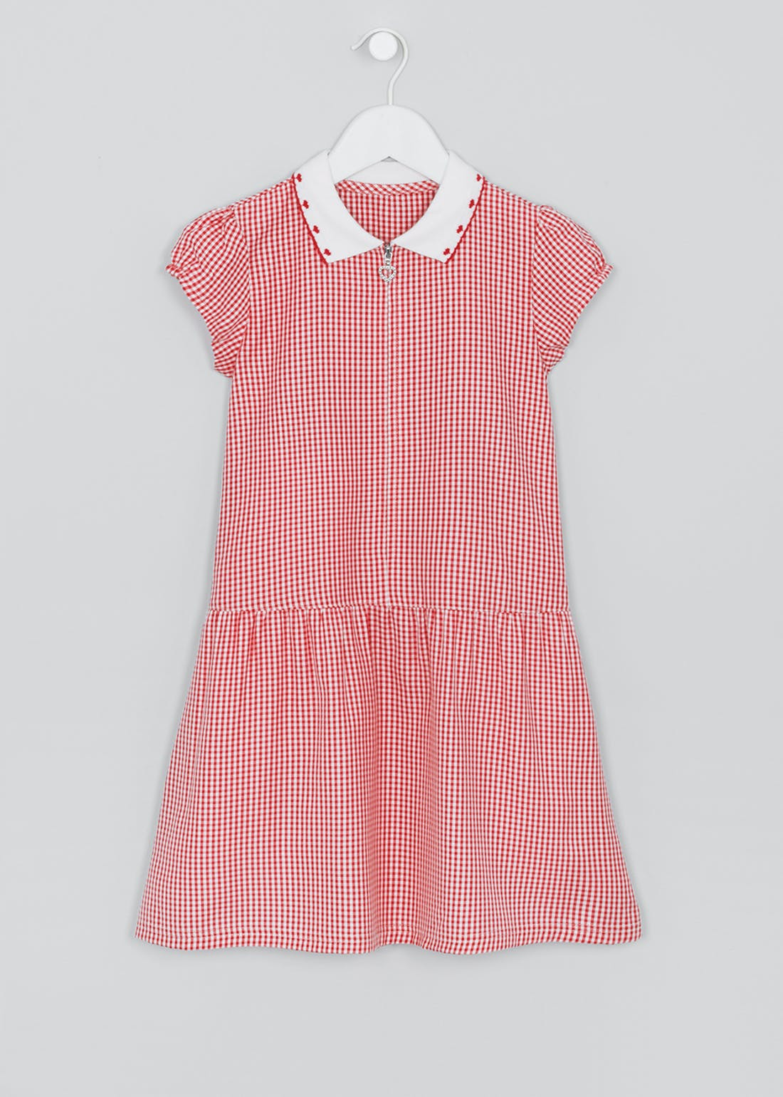 Girls Red Gingham Short Sleeve School Dress (4-14yrs)