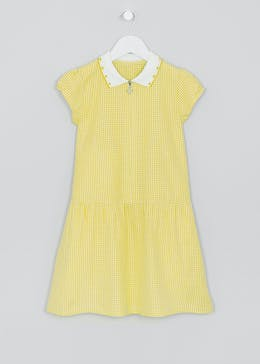 Girls Yellow Gingham Short Sleeve School Dress (4-14yrs)