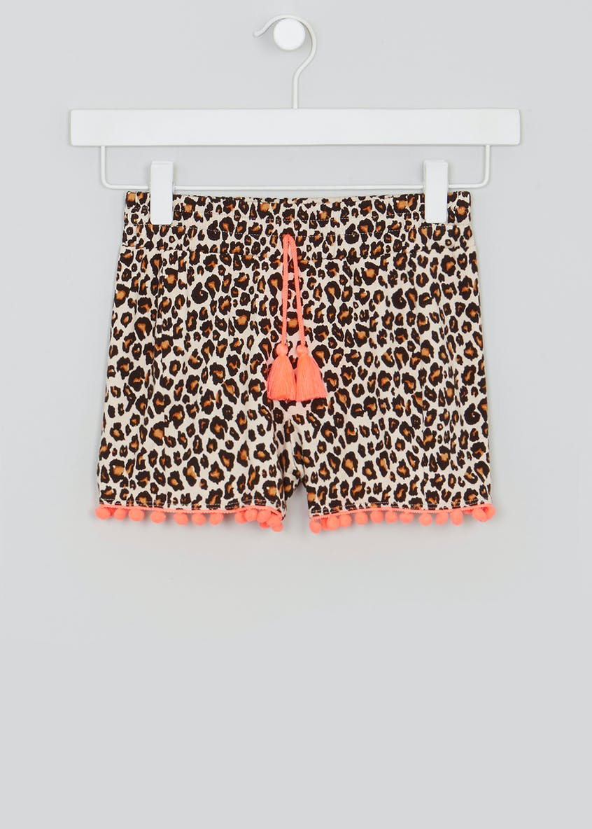 Girls Leopard Print Pom Pom Shorts (4-13yrs)