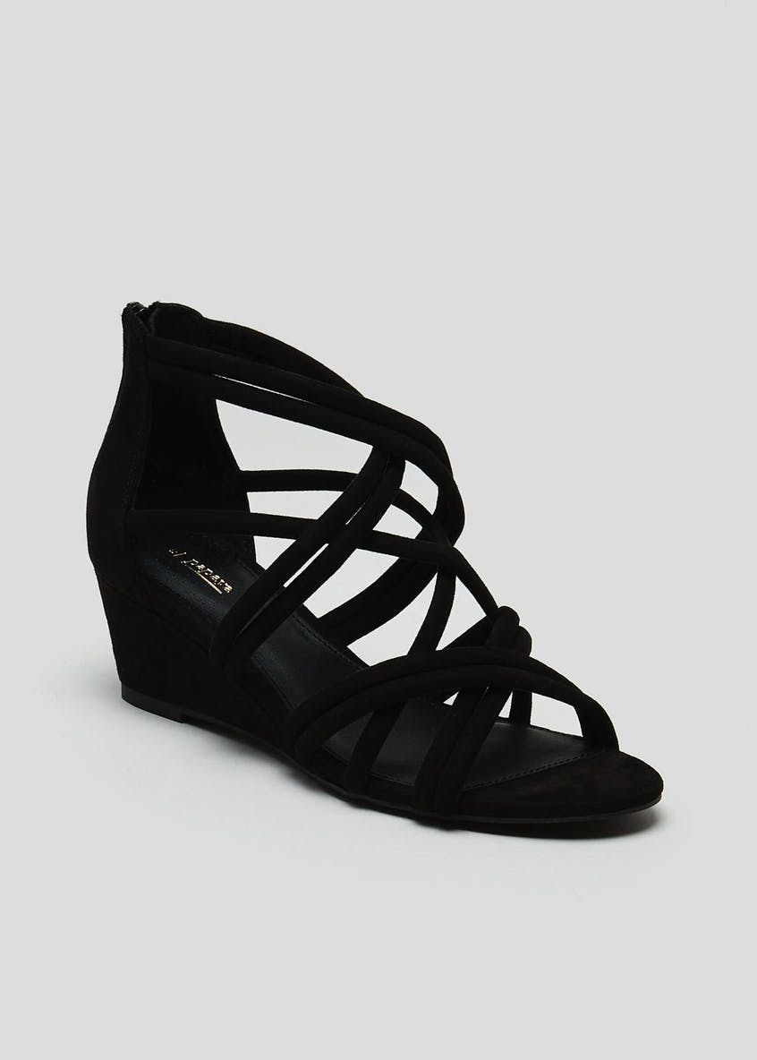 Multi Strap Caged Wedge Sandals