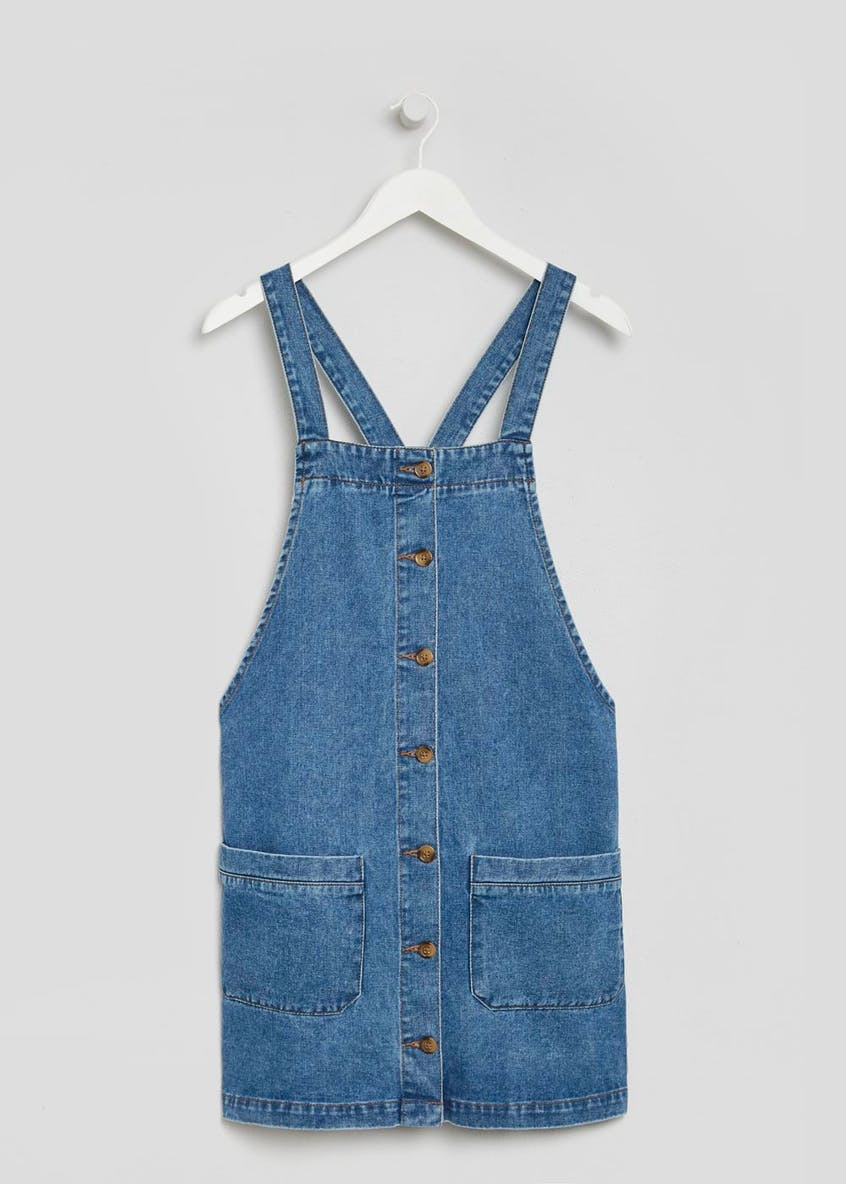 Button Front Denim Pinafore Dress