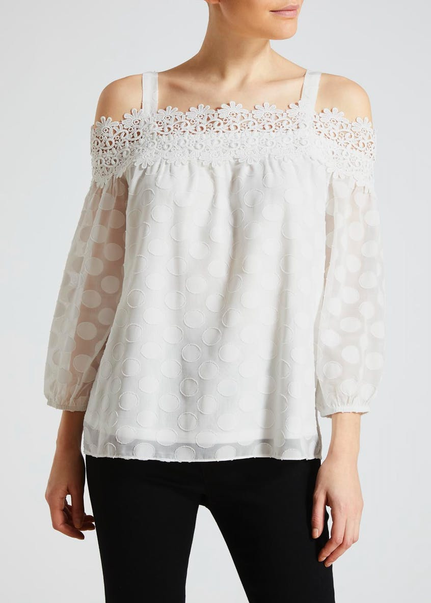 Soon White Lace Bardot Top