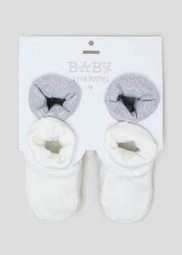 Unisex 2 Pack Soft Sole Baby Booties (Newborn-18mths)