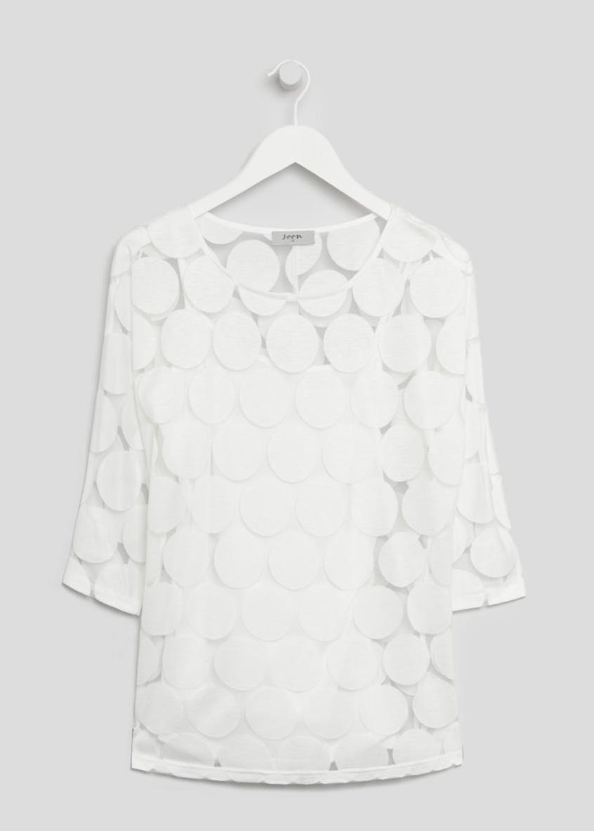 Soon Polka Dot Burnout Top
