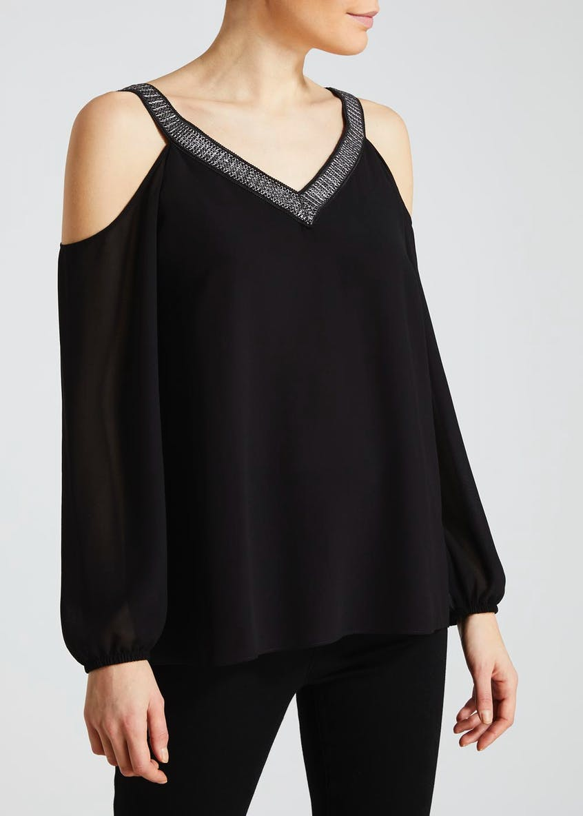 Soon Metallised Cold Shoulder Blouse
