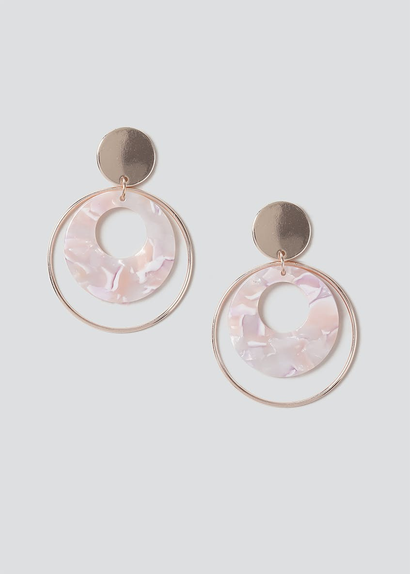 Marble Effect Circle Drop Earring