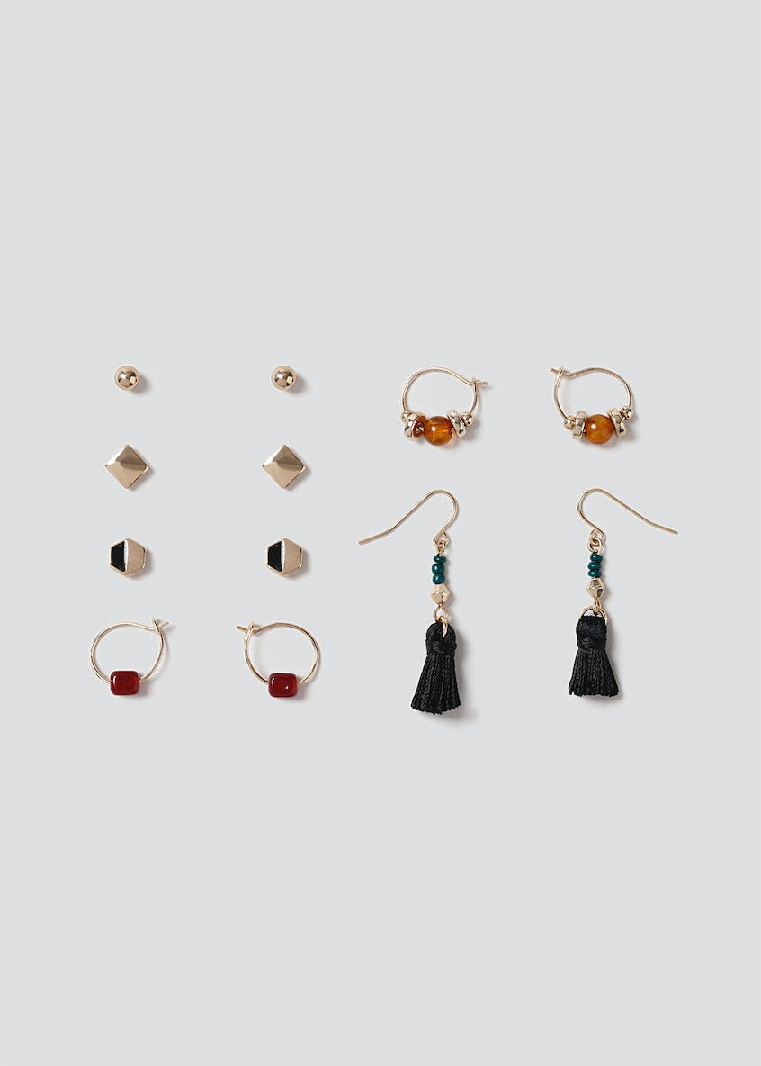 6 Pack Mixed Stud & Mini Drop Earrings