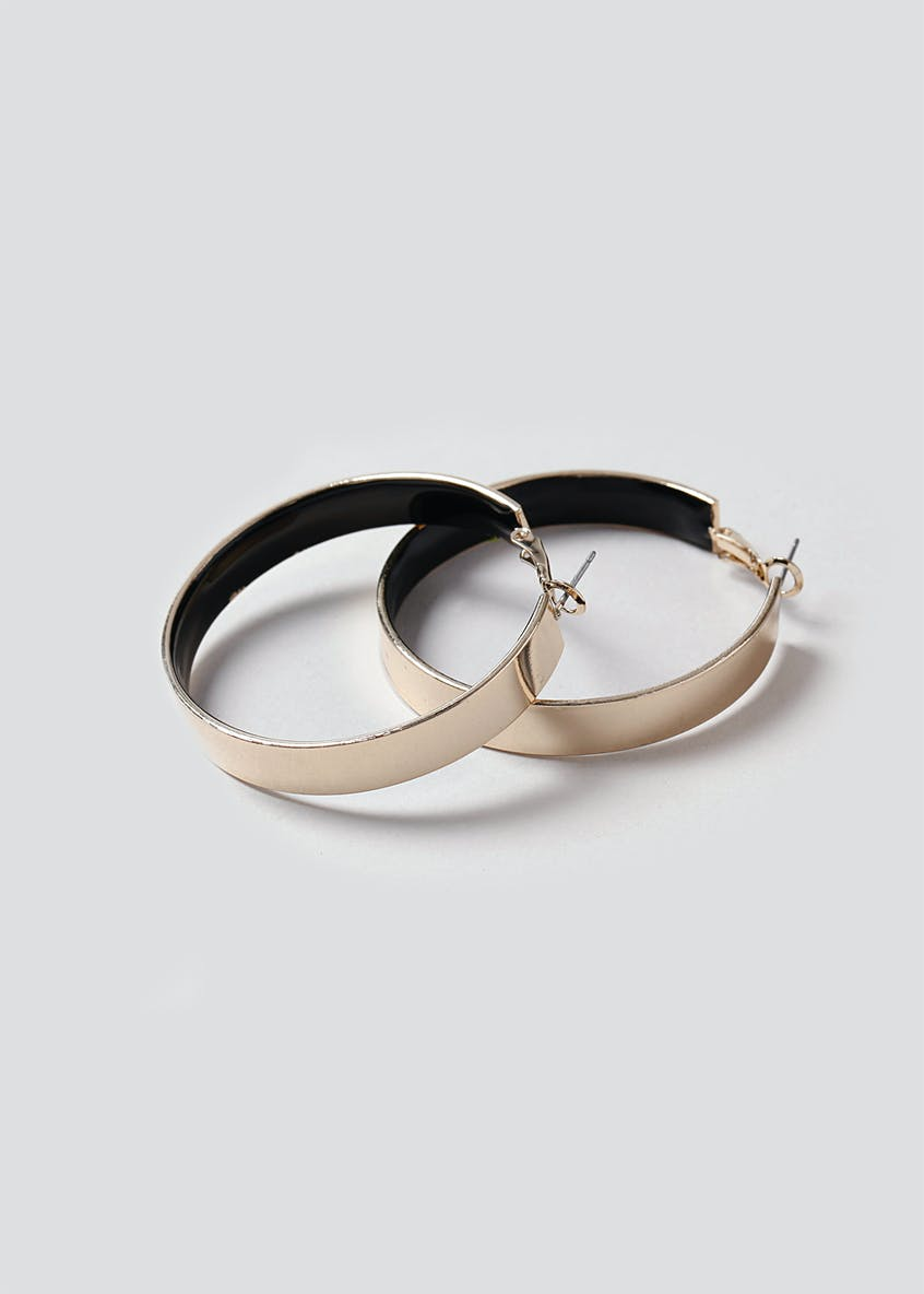 Enamel Inlay Hoop Earring
