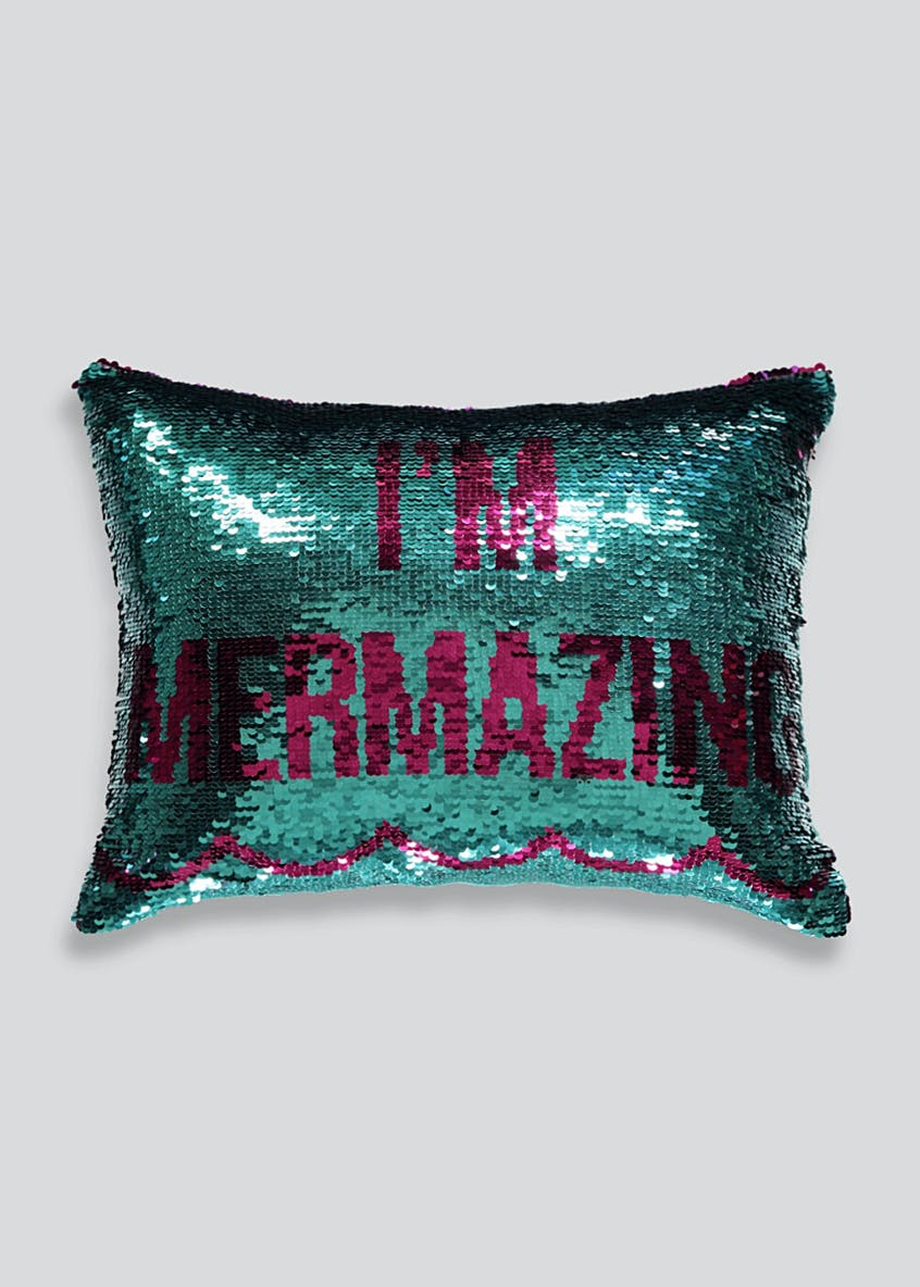 Two Tone Mermaid Sequin Cushion (40cm x 30cm)