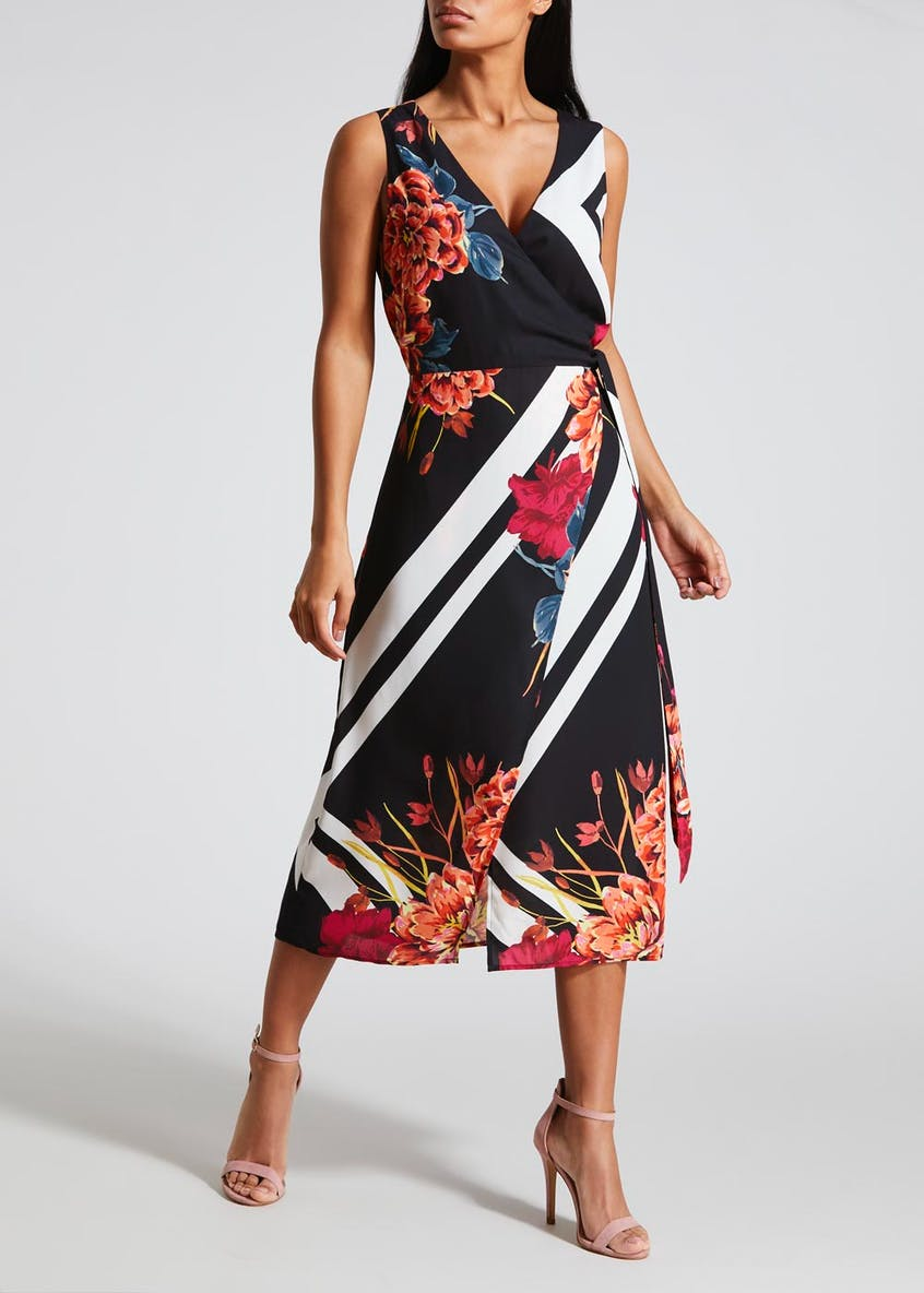 Soon Floral Stripe Wrap Dress