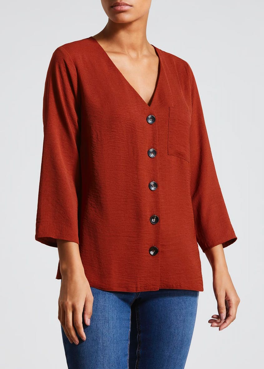 Twill Button Front Blouse