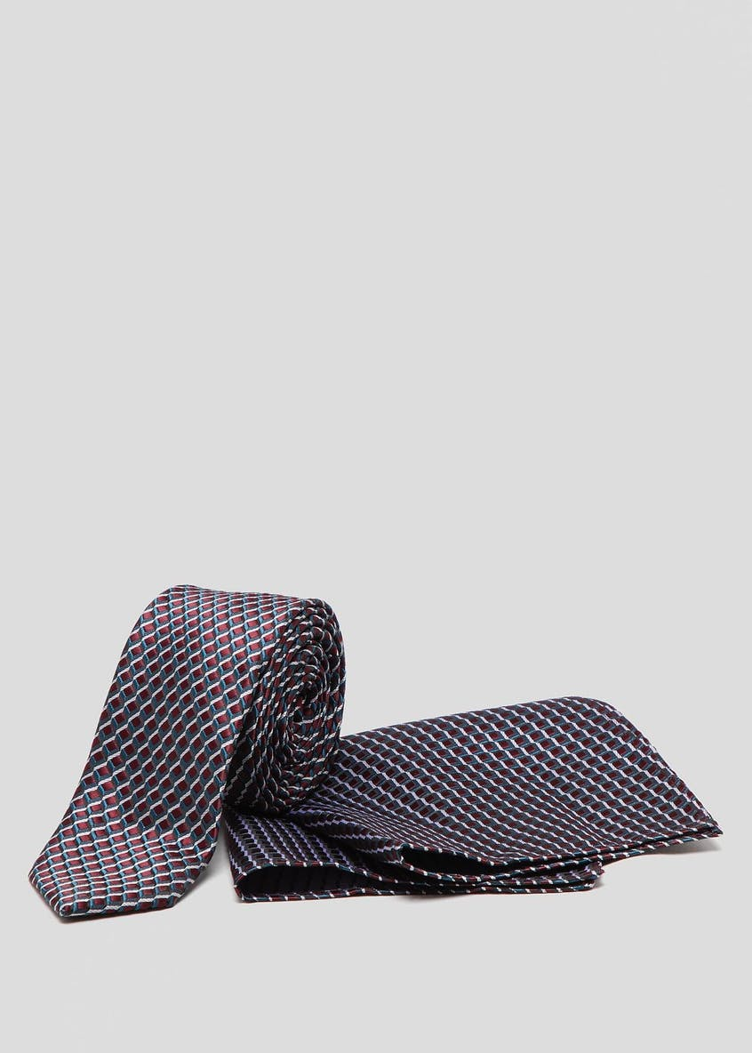 Skinny Geometric Tie & Pocket Square