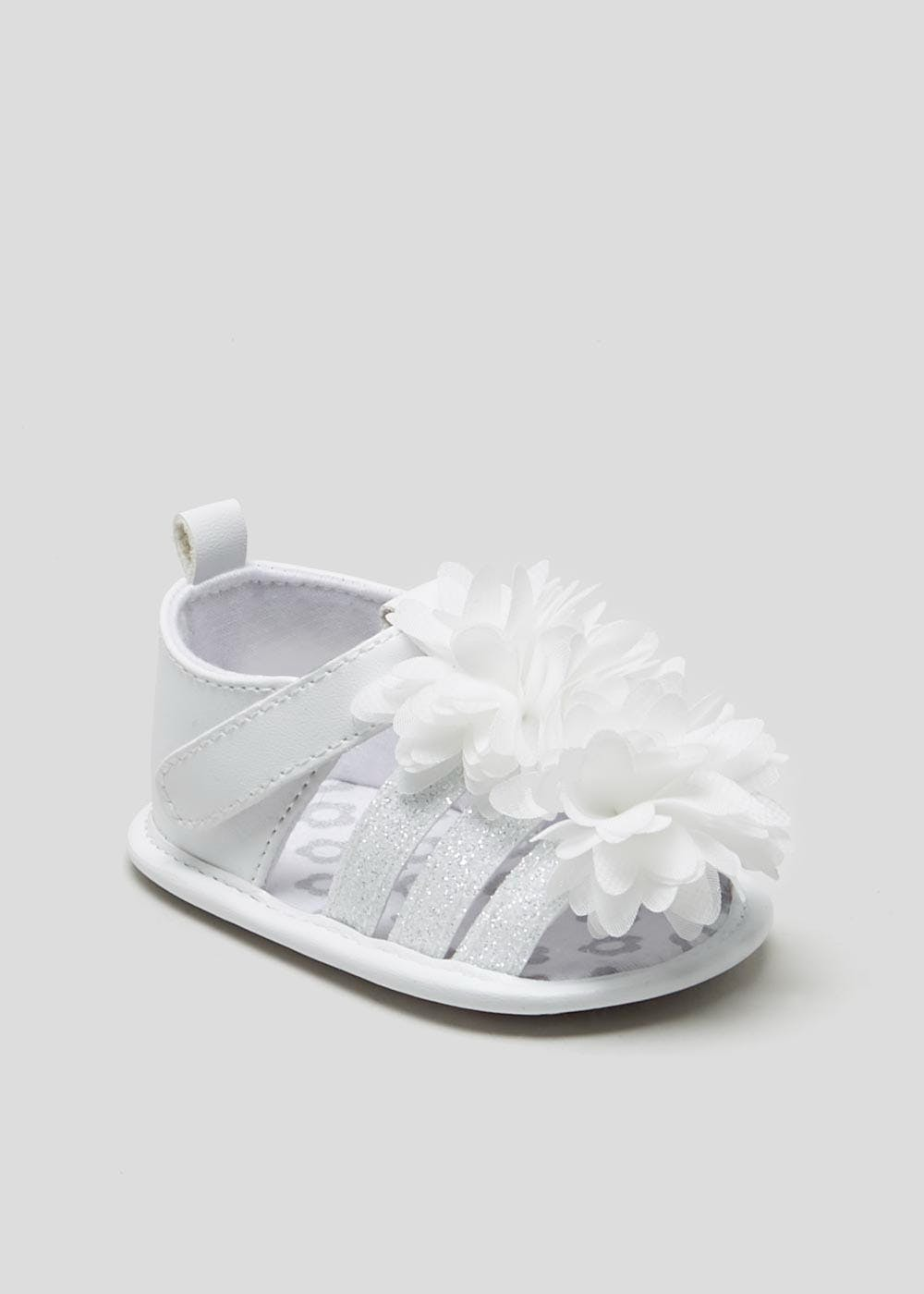 Girls Soft Sole Occasion Baby Sandals (Newborn-18mths) – White – Matalan