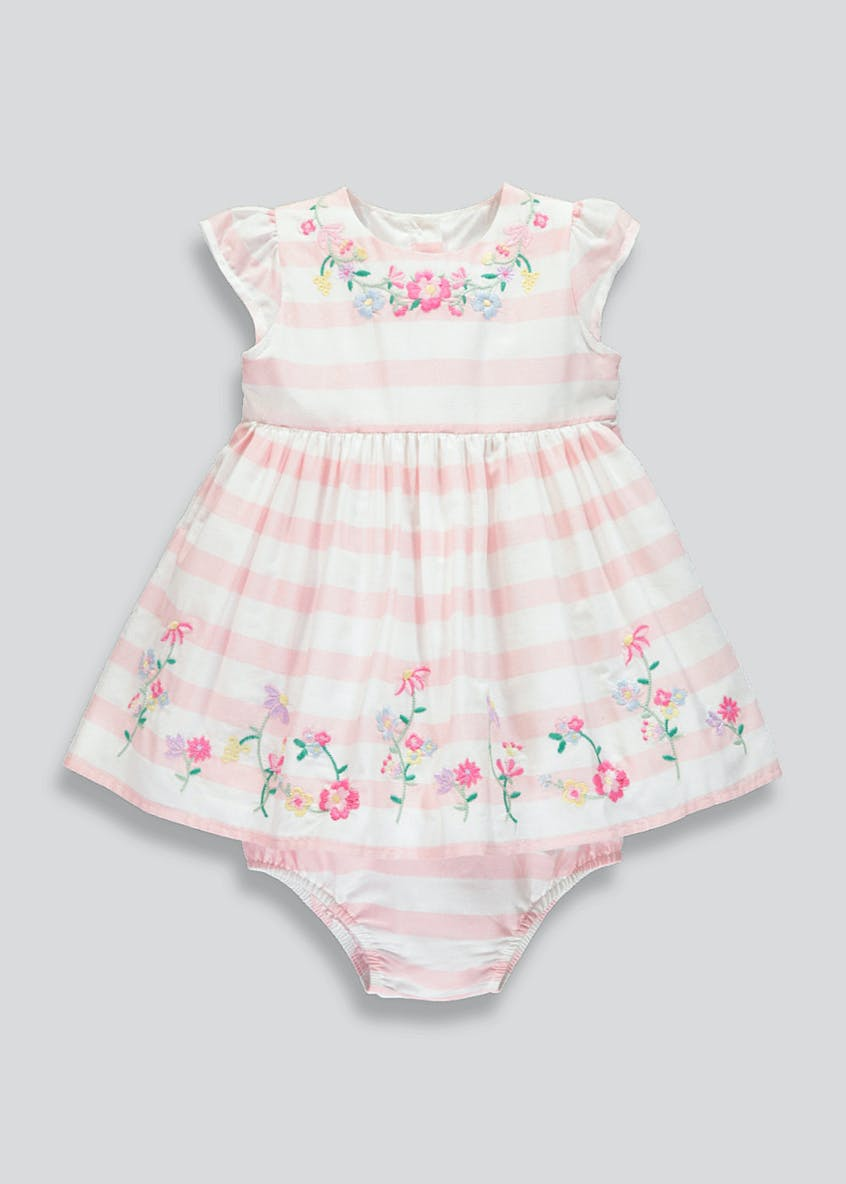 Girls Floral Embroidered Stripe Dress & Knickers Set (Newborn-18mths)