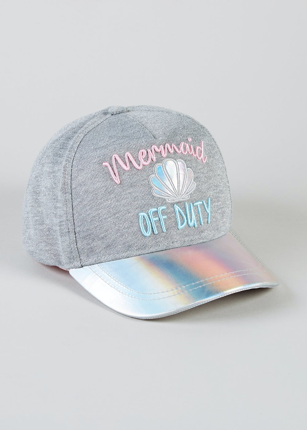 9e5bc5273bb51 Kids Mermaid Slogan Cap (3-13yrs) – Grey – Matalan