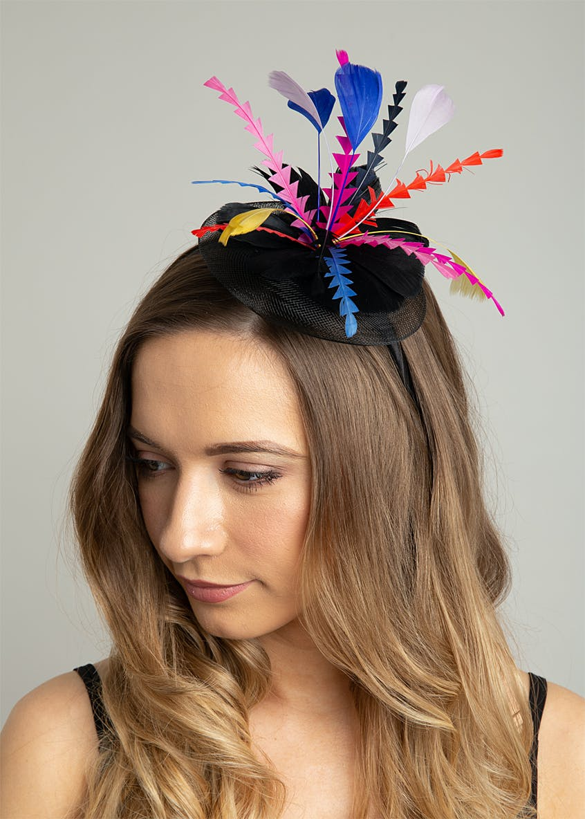 Multi Coloured Feather Fascinator