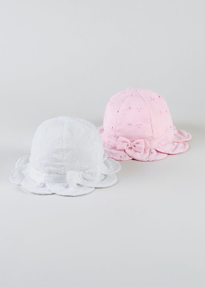 Girls 2 Pack Broderie Petal Sun Hats (Newborn-23mths)