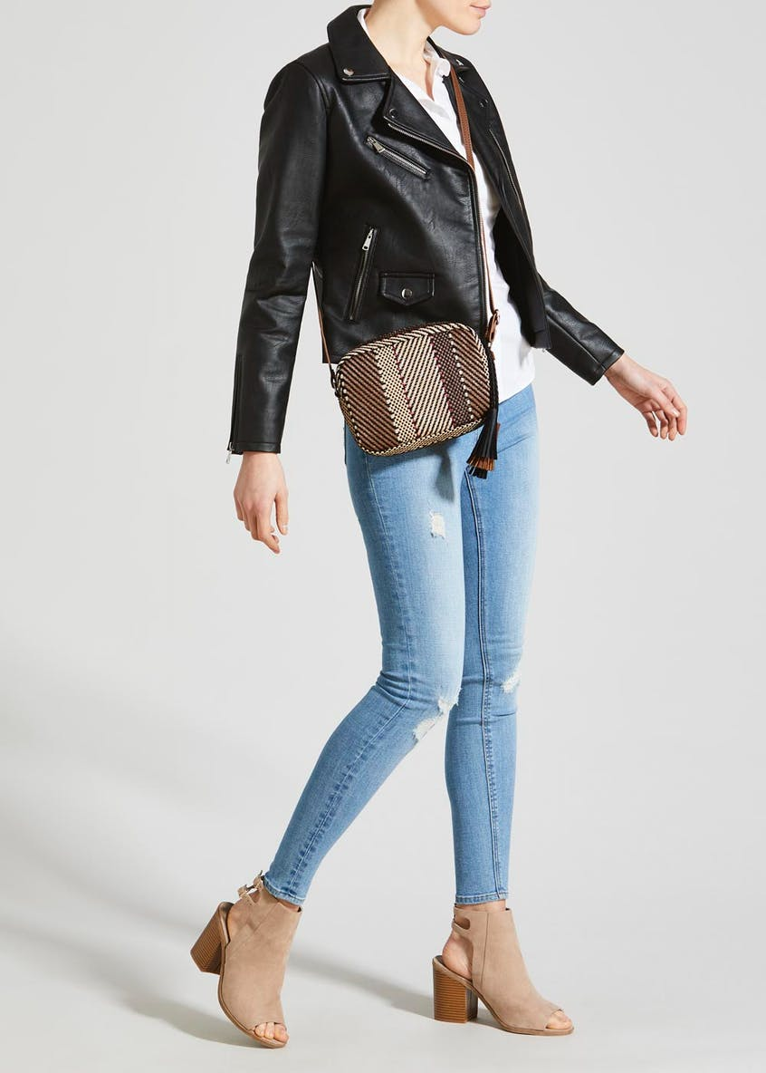 Textured Stripe Cross Body Bag