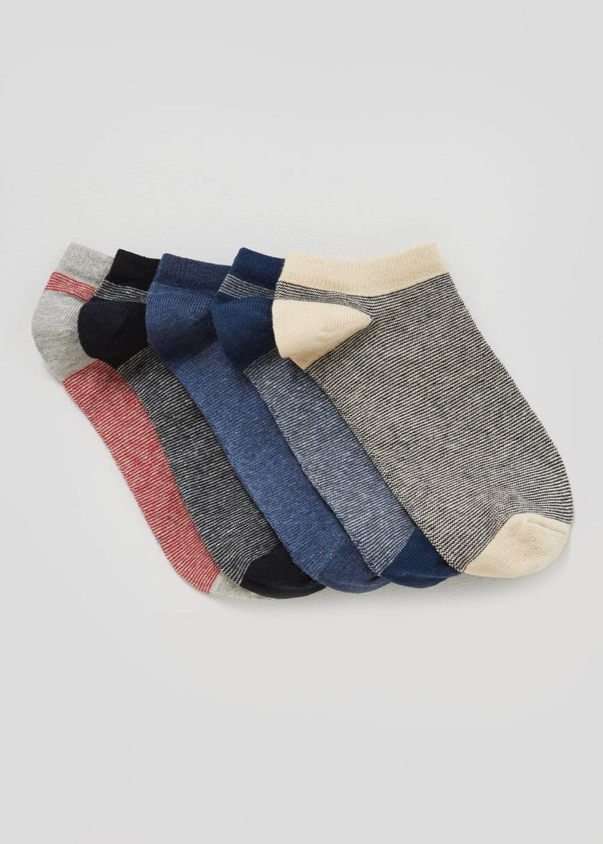 5 Pack Stripe Trainer Socks
