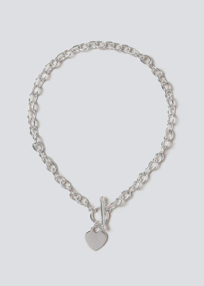 Chunky Chain Heart Charm Necklace