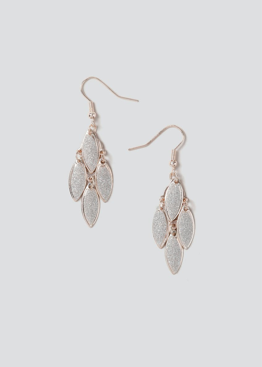 Glitter Leaf Drop Earring