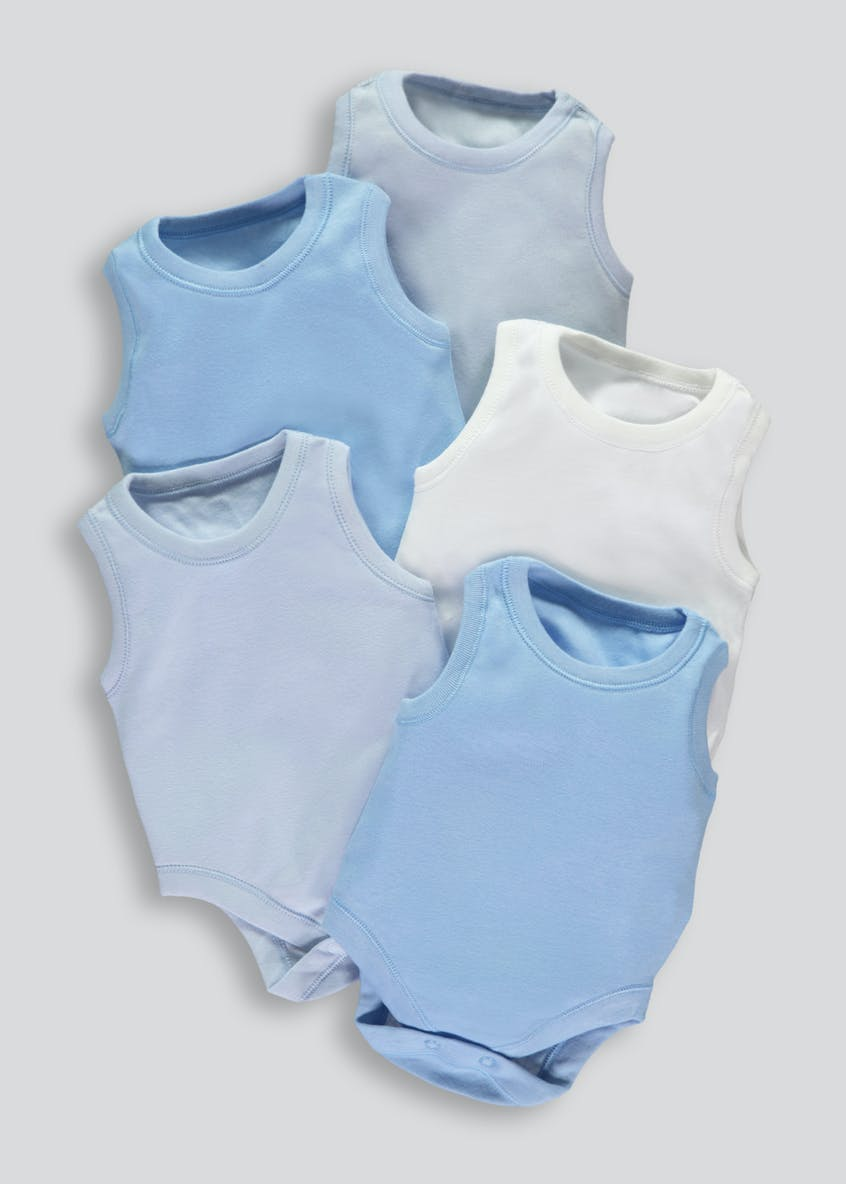 Boys 5 Pack Sleeveless Bodysuits (0-23mths)