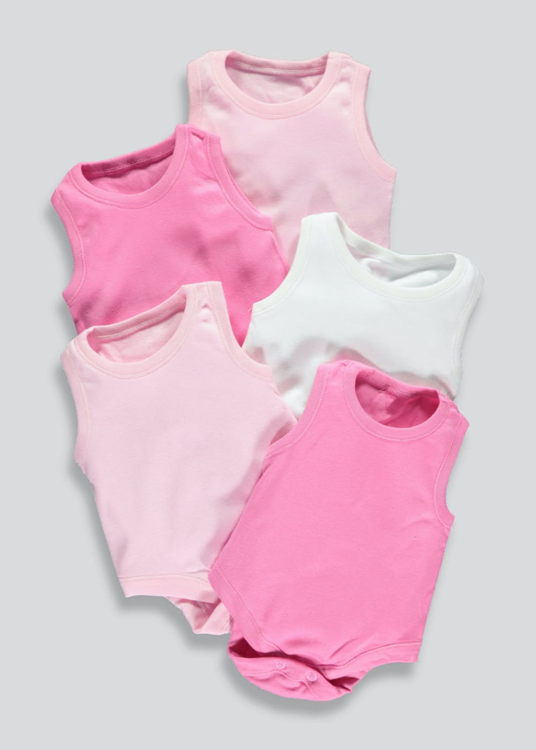 Girls 5 Pack Sleeveless Bodysuits (Newborn-23mths)